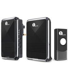 1byone Easy Chime Wireless Doorbell Door Chime Kit, Black