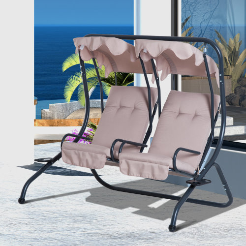 Outsunny 2-Seater Swing Chair, Steel-Beige