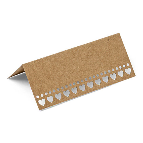 Brown Kraft Placecards x 10 - Wedding Rustic Vintage with Hearts