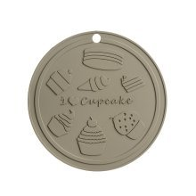 """I Love Cupcakes"" Silicone Trivet, Grey"