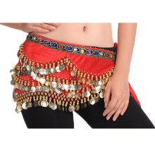 318 Shinning Sequin Fashion Red Style Belly Dance Hip Scarf Costume for Dancing