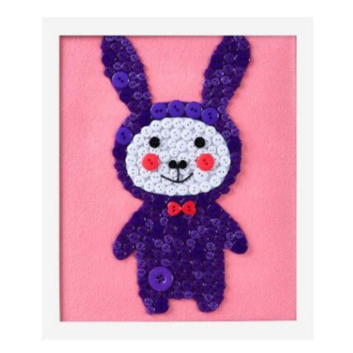 Purple Rabbit DIY Button Painting Mosaic Craft for Kids