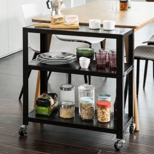 SoBuy® FKW61-SCH, Kitchen Storage Serving Trolley Sideboard 3 Tiers