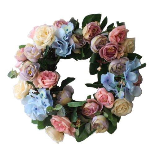 [Multicolor] Artificial Wreath Hanging Garland Door Wreath Wedding Decor