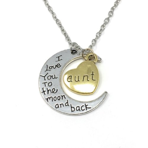 Silver-Tone 'Aunt I Love You To The Moon And Back' Engraved Pendant Necklace 3.0 x 2.7cm With 24 Inch Chain Auntie