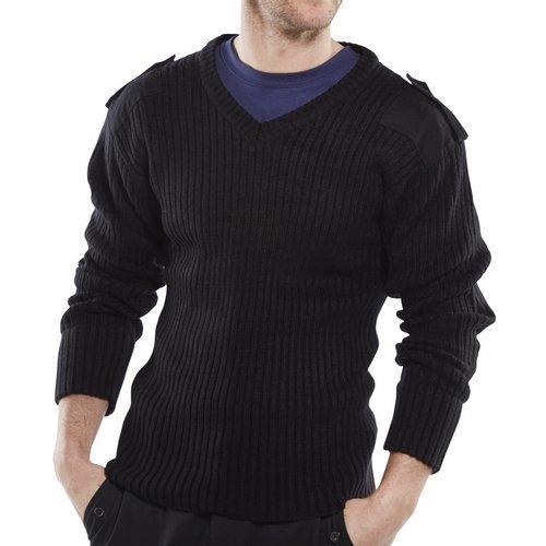 Click AMODVBLL Acrylic MOD Military Style Sweater V Neck Black Large