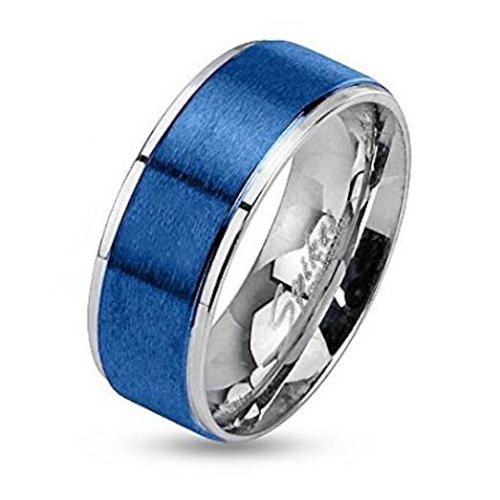Blue Brushed Steel Center Two Tone Stepped Edge Stainless Steel Band Ring