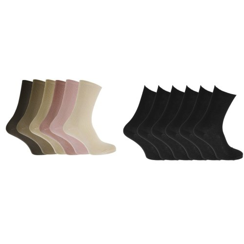 Healthy Womens/Ladies Easy-slide 100% Cotton Socks (6 Pairs)