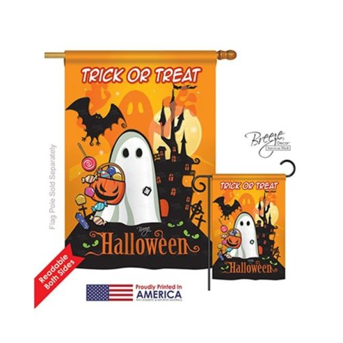 Breeze Decor 12051 Halloween Little Ghost 2-Sided Vertical Impression House Flag - 28 x 40 in.