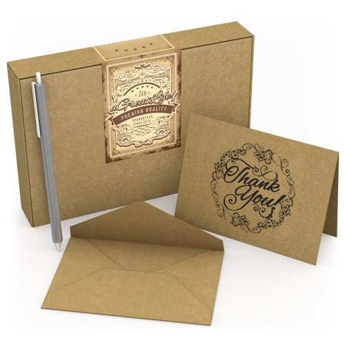 50 Count Krafty Thank You Cards with Envelopes & Free Pen: Best Personalized Note Cards for Weddings, Bridal and Baby Showers, Birthdays and...