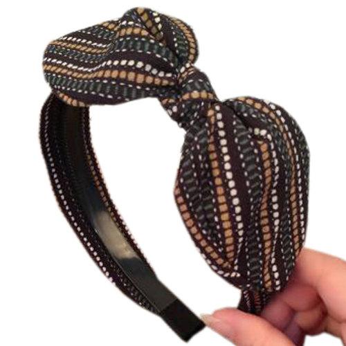 Girls Fashion Handmade Hairband Headband Fabrics Hair Hoop, Transparent Striped Black
