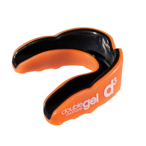 d3 Dual Layer Gel Sports Rugby Boxing Mouthguard Gumshield Orange Youth