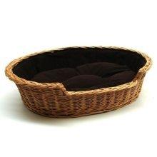 Extra Large Willow Dog Cat Pet Wicker Basket Dark Cushion