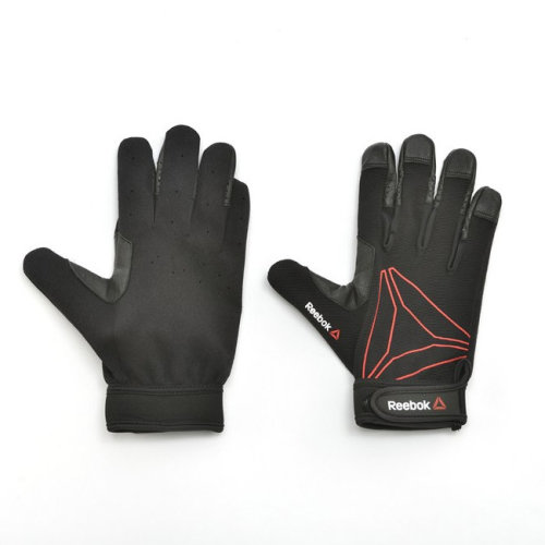 Reebok Full Finger Functional Exercise Fitness Workout Gym Gloves Black/Red