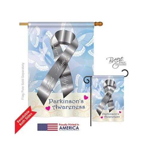Breeze Decor 15094 Parkinsons 2-Sided Vertical Impression House Flag - 28 x 40 in.