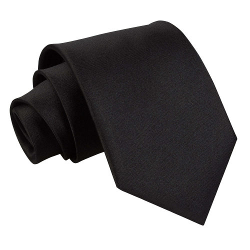 Black Plain Satin Extra Long Tie