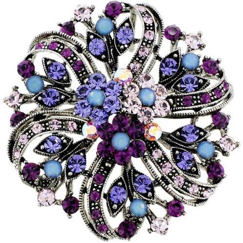 2950bddd68d35 Fantasyard 2 oz Flower Wedding Swarovski Crystal Pin Brooch & Pendant -  Amethyst Purple - 2.125 x 2.125 in.