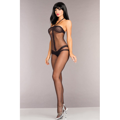 Crotchless Bodystocking With Halterneck  Ladies Lingerie Cat suits - Be Wicked