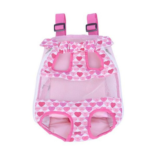 Cute Portable Front Backpack Carrier Bag For Pets PINK B (Suitable for 2.5-4kg)