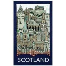 Scotland Landmarks Tea Towel Souvenir Gift Cityscape Scottish Edinburgh Castle Collage Montage