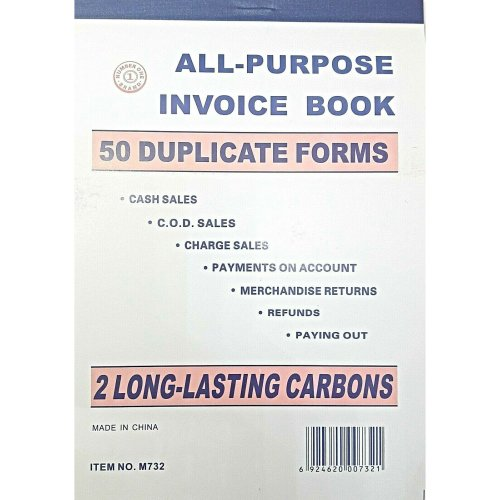 "10 PCS LARGE ALL PURPOSE 7"" INVOICE BOOKS 50 DUPLICATE CARBON RECEIPTS"