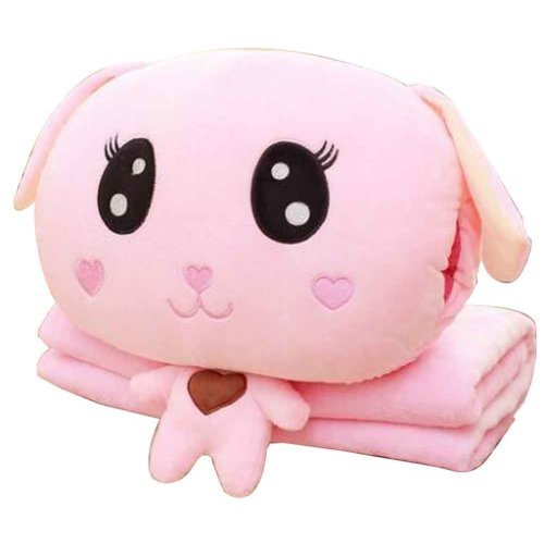 Cute Doggie 3 In 1 Blanket Cushion Pillow, Perfect for Winter [C]