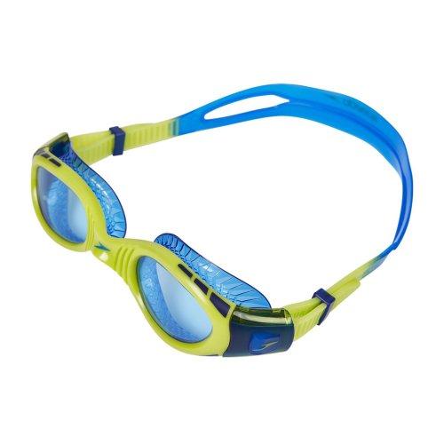 Speedo Kids' Junior Unisex Futura Bio Fuse Flexi Seal Goggles, Green/Blue, One Size