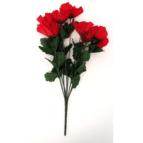 Artificial Red Poppy Bouquet 9 Stem - 43cm - Remembrance Day