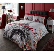 Paris Flower grey cotton blend duvet cover