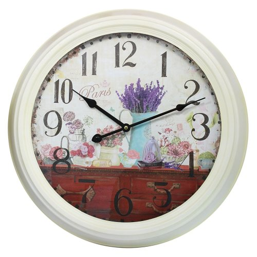 Home Decoration Large Metal Paris & Lavender Scene Wall Clock 47cm