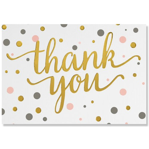 Pink & Gold Dots Thank You Notes (Stationery, Boxed Cards)