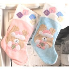 Stocking Decorated Baby's 50cm - Christmas Gimmick Baby Present Bag W Teddy -  christmas stocking gimmick baby present bag w teddy design blue pink