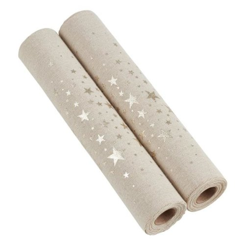 Saro Lifestyle GL228.CH Garland Roll with Foil Printed Stars - Champagne, Set of 2
