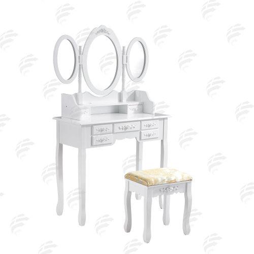 cheaper 6f62e b97b6 White Dressing Table, 3 Oval Mirrors & Stool Set (7 Drawer)