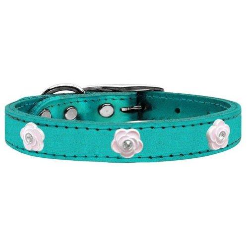 Mirage Pet 83-85 TQM18 Light Pink Rose Widget Genuine Metallic Leather Dog Collar, Turquoise - Size 18