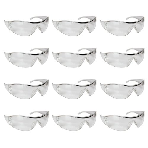 Kurtzy 12 Pcs Safety Glasses Pack of Clear Safety Goggles - Protective Glasses Eyewear Eyeglasses for Eye Protection with Clear Plastic Lenses-...