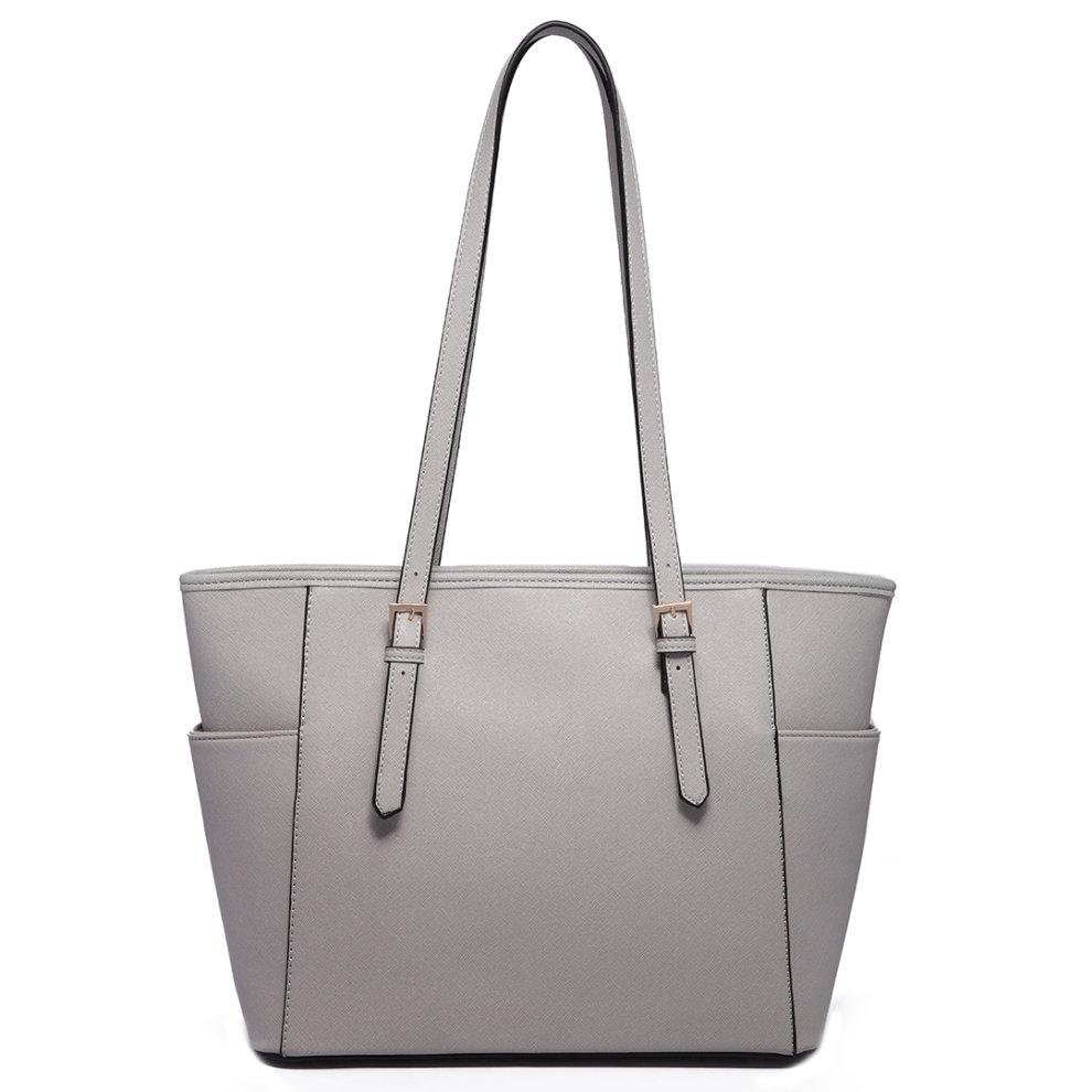 e7c3d4ad9ae0 Miss Lulu Women Adjustable Shoulder Handbag Leather Tote Bag Light Grey