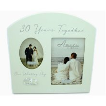 """Amore Pearl 30th Anniversary Wedding Gifts Cream Photo Frame - 6""""x4"""""""