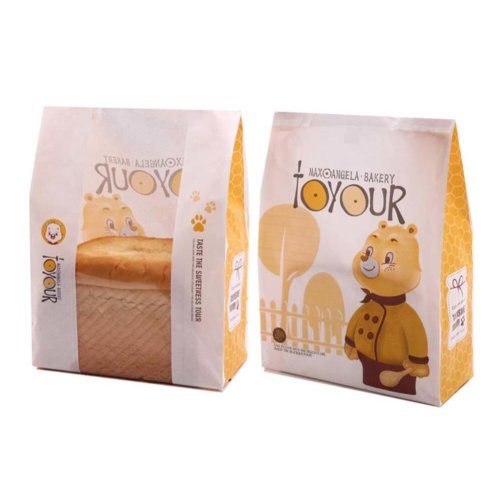 100pcs Paper Bread Bag Food Packaging Storage Bakery Toast Bag with Window - 27 on OnBuy