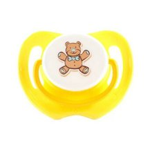 Lovely Cartoon Free Nighttime Infant Pacifier, Bear,Yellow