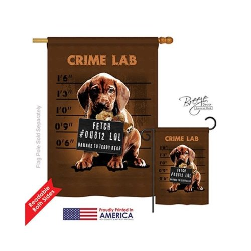 Breeze Decor 10002 Pets Crime Lab 2-Sided Vertical Impression House Flag - 28 x 40 in.