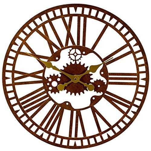 Mechanical Metal Garden Clock in a Rust Finish - Outdoor Antique Style Wall Clock - 40cm