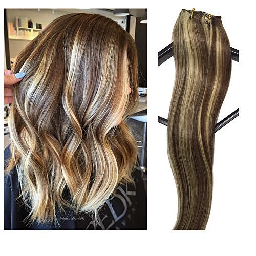 Clip in Hair Extensions Human Hair 7 Pieces 70g Clip On Extensions Brown with Blonde Highlights Silky Straight Weft Remy Real Hair (15 inches, 6613)