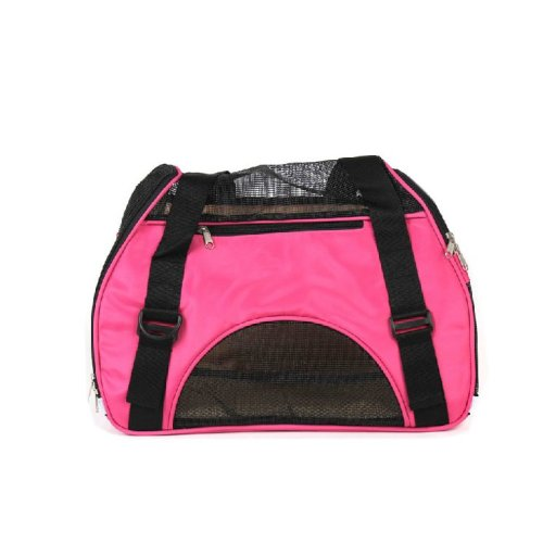 Foldable Soft Pet Carrier Tote Bag for Dogs and Cats (46*24.5*33cm, PINK)