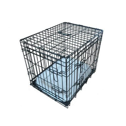 Ellie-Bo Deluxe Extra Strong 2 Door Folding Dog Puppy Cage with Faux Sheepskin Bed Small 24 inch Black