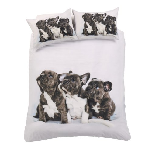 3D Frenchie French Bull Dogs Cute Puppies Duvet Cover Cotton Rich Bedding Set