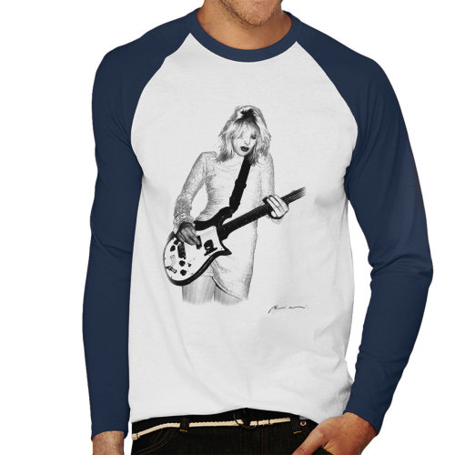 Courtney Love Playing Guitar At Club Lingerie La White Men's Baseball Long Sleeved T-Shirt