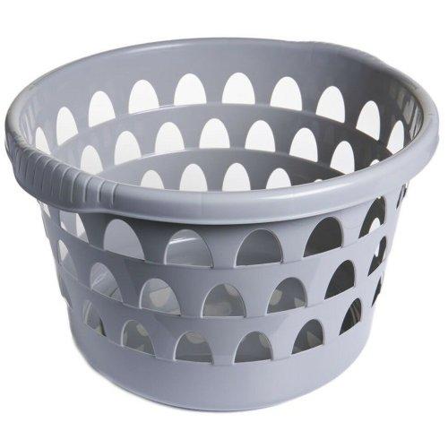 Round Laundry Basket Washing Basket Laundry Hamper With Textured Handles (Putty)