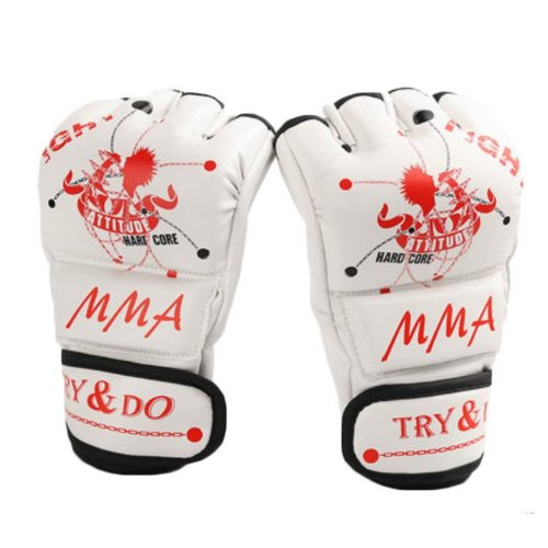 Boxing - Kickboxing Glove Half Finger Gloves -MMA----White