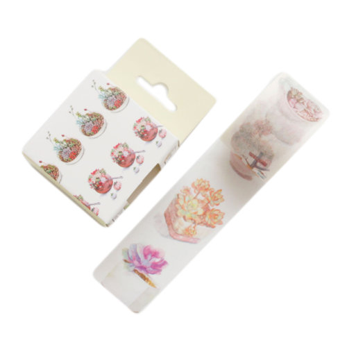 1.2 Inch Wide Washi Flower Decorative Paper Tapes for Arts and DIY Crafts, F